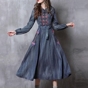 Embroidered Belted Denim Dress - Sensationally Fabulous