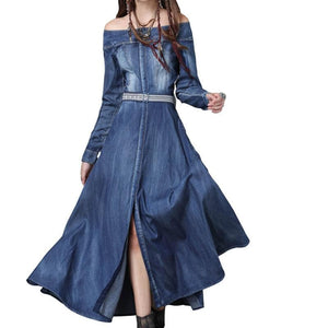 Sensationally Fabulous Casual Dresses Split Button Front Maxi Denim Dress