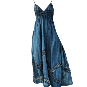 Ali Orders Casual Dresses Patchwork Ruffle Sleeveless Denim Dress