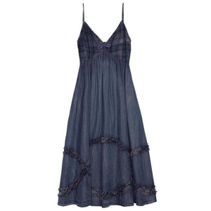 Ali Orders Casual Dresses blue / S Patchwork Ruffle Sleeveless Denim Dress