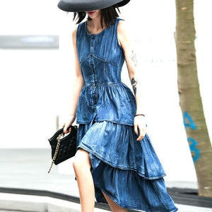 Ali Orders Casual Dresses Pleated Sleeveless Denim Dress