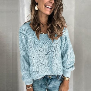 Silver Sam Clothing L / Blue Hollow Knitted long sleeve Sweater