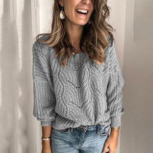Silver Sam Clothing L / Gray Hollow Knitted long sleeve Sweater
