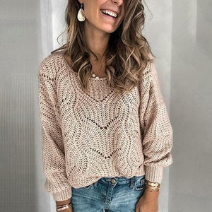 Silver Sam Clothing L / Khaki Hollow Knitted long sleeve Sweater
