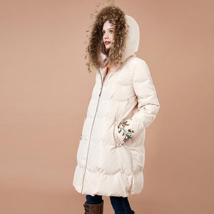 eprolo Clothing, Shoes & Accessories:Women:Women's Clothing:Coats, Jackets & Vests Embroidered Fur Detachable Collar Jacket