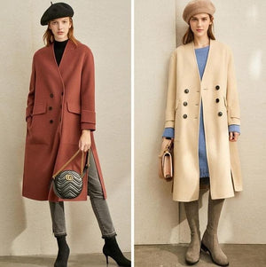 Oberlo Clothing, Shoes & Accessories:Women:Women's Clothing:Coats, Jackets & Vests Vintage Woollen Double Breasted Coat