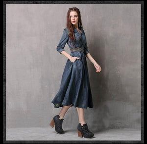 Sensationally Fabulous Clothing, Shoes & Accessories:Women:Women's Clothing:Dresses Blue / S Boho Dresses w Belt