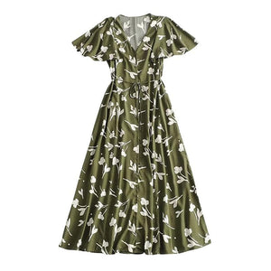 eprolo Clothing, Shoes & Accessories:Women:Women's Clothing:Dresses Green / XS-5 Boho V Neck Floral Kimono Sleeve Summer Dress