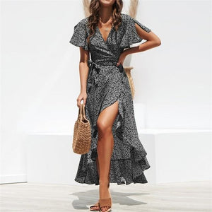 eprolo Clothing, Shoes & Accessories:Women:Women's Clothing:Dresses Black / S Casual Split Ruffles Wrap Dress