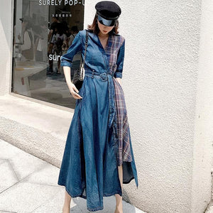 Denim Plaid Wrap Dresses w Belt - Sensationally Fabulous