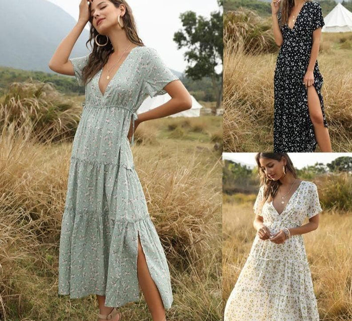 Floral Boho Long Summer Beach Dresses