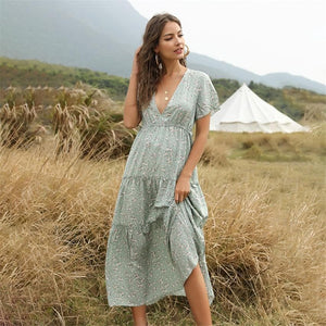 eprolo Clothing, Shoes & Accessories:Women:Women's Clothing:Dresses Green / S Floral Boho Long Summer Beach Dresses