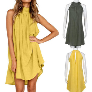 eprolo Clothing, Shoes & Accessories:Women:Women's Clothing:Dresses Halter Neck Cotton Sleeveless Tunic Dresses