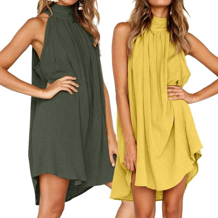 Halter Neck Cotton Sleeveless Tunic Dresses