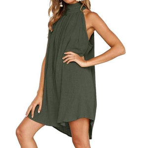 eprolo Clothing, Shoes & Accessories:Women:Women's Clothing:Dresses Green / S Halter Neck Cotton Sleeveless Tunic Dresses