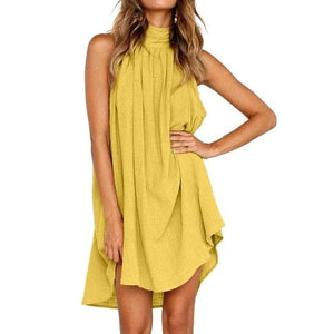 eprolo Clothing, Shoes & Accessories:Women:Women's Clothing:Dresses Yellow / S Halter Neck Cotton Sleeveless Tunic Dresses