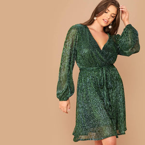 Angela Clothing, Shoes & Accessories:Women:Women's Clothing:Dresses Plus Lantern Sleeve Surplice Neck Belted Metallic Dress