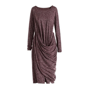 eprolo Clothing, Shoes & Accessories:Women:Women's Clothing:Dresses Red Pleated Irregular Knitted Dress