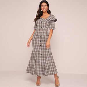 Angela Clothing, Shoes & Accessories:Women:Women's Clothing:Dresses L / Multicolor Single Breasted Ruffle Trim Flared Hem Plaid Dresses