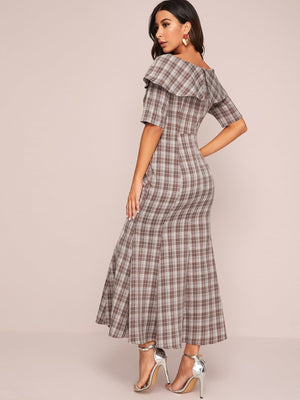Angela Clothing, Shoes & Accessories:Women:Women's Clothing:Dresses Single Breasted Ruffle Trim Flared Hem Plaid Dresses