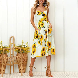 Oberlo Clothing, Shoes & Accessories:Women:Women's Clothing:Dresses AX465YE / L Sunflower Printed Summer Dresses
