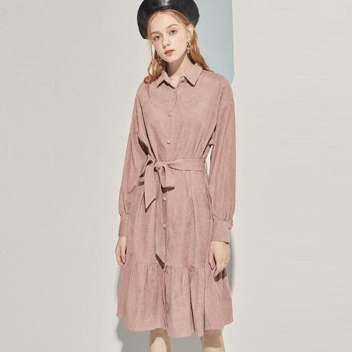 Turn Down Collar Vintage Corduroy Dress