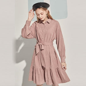Turn Down Collar Vintage Corduroy Dress - Sensationally Fabulous