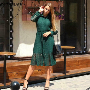 Oberlo Clothing, Shoes & Accessories:Women:Women's Clothing:Dresses Single Breasted Lace Dress With Belt