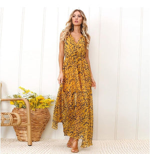 eprolo Clothing, Shoes & Accessories:Women:Women's Clothing:Dresses Yellow Chiffon Backless Summer Maxi Dresses