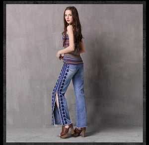 Sensationally Fabulous Clothing, Shoes & Accessories:Women:Women's Clothing:Pants Embroidered Denim Jeans