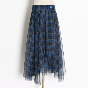 Ali Orders Clothing, Shoes & Accessories:Women:Women's Clothing:Pants:Women's Skirts Blue / S Blue Plaid Chiffon Skirts