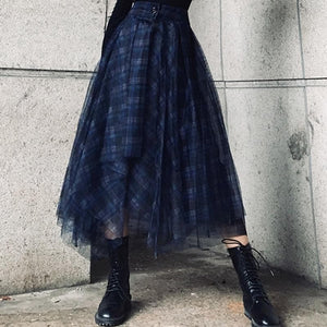 Ali Orders Clothing, Shoes & Accessories:Women:Women's Clothing:Pants:Women's Skirts Blue Plaid Chiffon Skirts