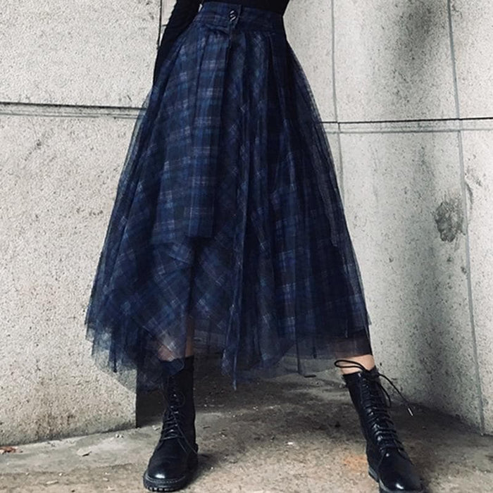 Blue Plaid Chiffon Skirts