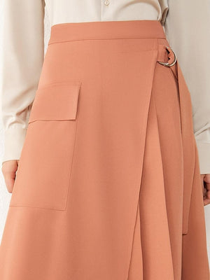 Oberlo Clothing, Shoes & Accessories:Women:Women's Clothing:Pants:Women's Skirts High Waist Pleated Aline Calf-length Skirt