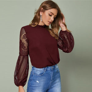 Angela Clothing, Shoes & Accessories:Women:Women's Clothing:Tops XS / Burgundy Burgundy Sheer Lace Blouse