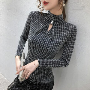 Shop 5600031 Clothing, Shoes & Accessories:Women:Women's Clothing:Tops Silver tshirt / XXL Turtleneck Long Sleeve Plaid Top