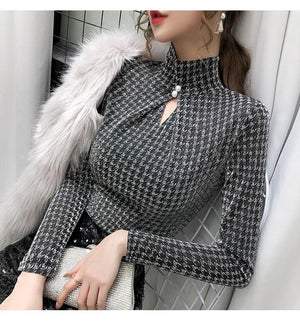 Shop 5600031 Clothing, Shoes & Accessories:Women:Women's Clothing:Tops Turtleneck Long Sleeve Plaid Top