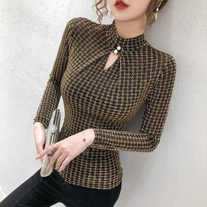 Shop 5600031 Clothing, Shoes & Accessories:Women:Women's Clothing:Tops Gold tshirt / L Turtleneck Long Sleeve Plaid Top