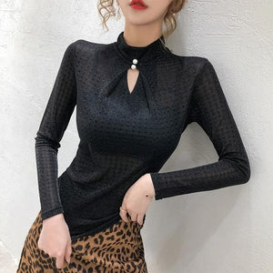 Shop 5600031 Clothing, Shoes & Accessories:Women:Women's Clothing:Tops Black tshirt / S Turtleneck Long Sleeve Plaid Top