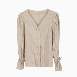 Oberlo Clothing, Shoes & Accessories:Women:Women's Clothing:Tops apricot / One Size Vintage Puff Sleeve V-Neck Blouse