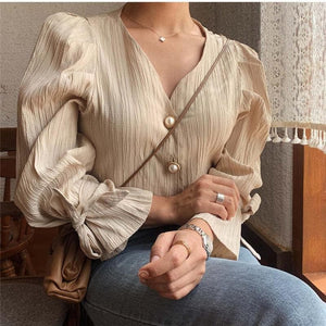 Oberlo Clothing, Shoes & Accessories:Women:Women's Clothing:Tops Vintage Puff Sleeve V-Neck Blouse