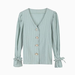 Oberlo Clothing, Shoes & Accessories:Women:Women's Clothing:Tops green / One Size Vintage Puff Sleeve V-Neck Blouse