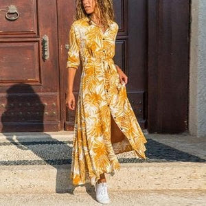 Silver Sam Dresses Yellow Tropical Print Front Button Up Dress
