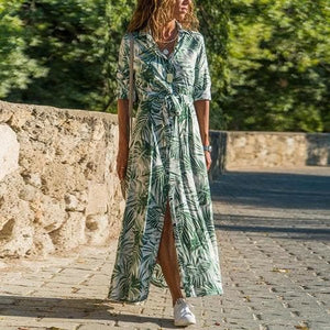 Silver Sam Dresses L / Green Yellow Tropical Print Front Button Up Dress