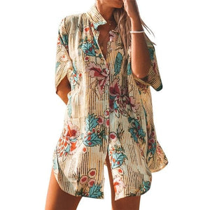 eprolo Clothing, Shoes & Accessories:Women:Women's Clothing:Tops Multi / L Floral Print Buttoned Cover Up Shirt