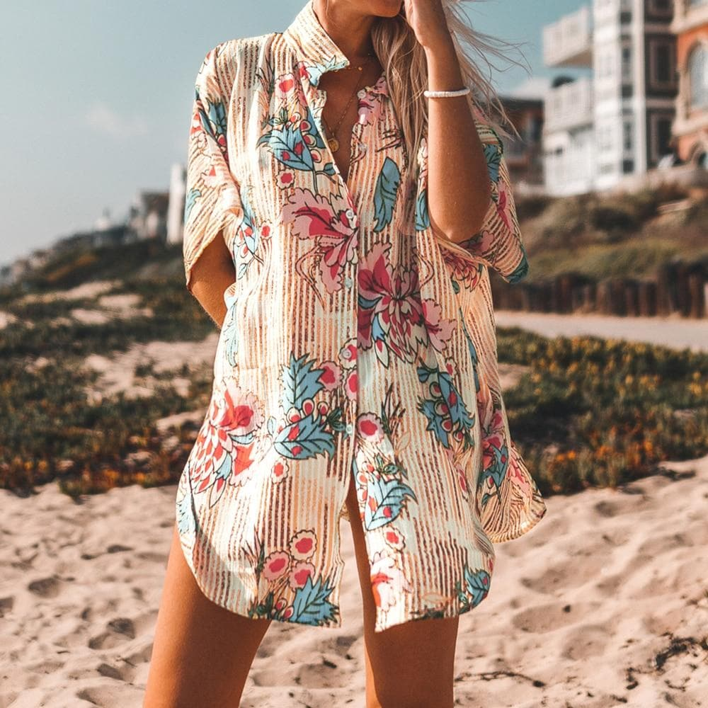 Floral Print Buttoned Cover Up Shirt - Sensationally Fabulous