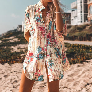 eprolo Clothing, Shoes & Accessories:Women:Women's Clothing:Tops Floral Print Buttoned Cover Up Shirt