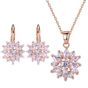 eprolo Jewellery & Watches:Fashion Jewellery:Necklaces & Pendants Gold Flower Clear CZ Neckless & Earring Sets