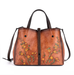 Oberlo Women - Bags - Leather-Crossbody-Shoulder-Hand Bag Brown Floral Embossed Shoulder Handbag