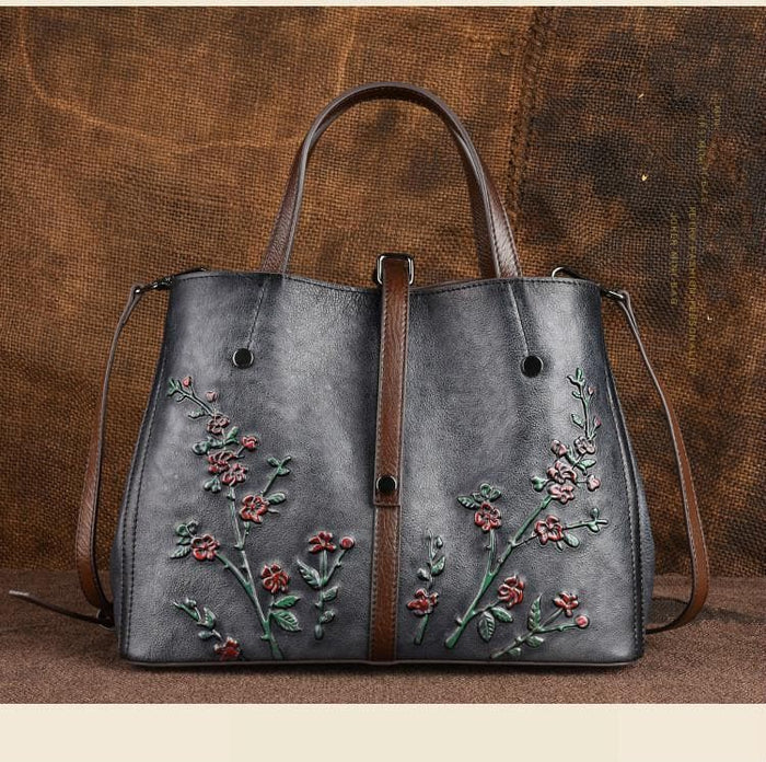 Floral Embossed Shoulder Handbag